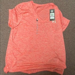 Pink under armour dry fit tee